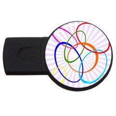 Abstract Background With Interlocking Oval Shapes USB Flash Drive Round (1 GB)