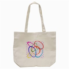 Abstract Background With Interlocking Oval Shapes Tote Bag (Cream)