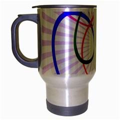 Abstract Background With Interlocking Oval Shapes Travel Mug (Silver Gray)