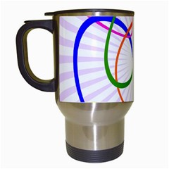 Abstract Background With Interlocking Oval Shapes Travel Mugs (white)