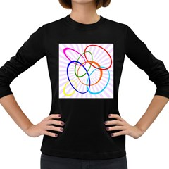 Abstract Background With Interlocking Oval Shapes Women s Long Sleeve Dark T-Shirts