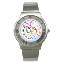 Abstract Background With Interlocking Oval Shapes Stainless Steel Watch