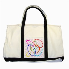 Abstract Background With Interlocking Oval Shapes Two Tone Tote Bag