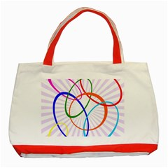 Abstract Background With Interlocking Oval Shapes Classic Tote Bag (red)