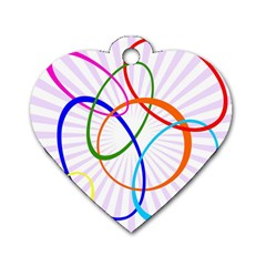 Abstract Background With Interlocking Oval Shapes Dog Tag Heart (Two Sides)