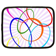 Abstract Background With Interlocking Oval Shapes Netbook Case (large)