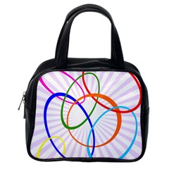 Abstract Background With Interlocking Oval Shapes Classic Handbags (one Side)