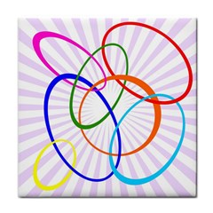 Abstract Background With Interlocking Oval Shapes Face Towel