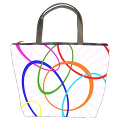 Abstract Background With Interlocking Oval Shapes Bucket Bags