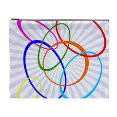 Abstract Background With Interlocking Oval Shapes Cosmetic Bag (XL)