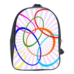 Abstract Background With Interlocking Oval Shapes School Bags(Large)