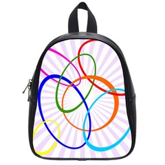 Abstract Background With Interlocking Oval Shapes School Bags (Small)