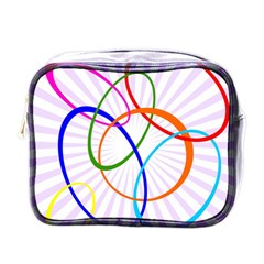 Abstract Background With Interlocking Oval Shapes Mini Toiletries Bags