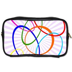 Abstract Background With Interlocking Oval Shapes Toiletries Bags 2-Side