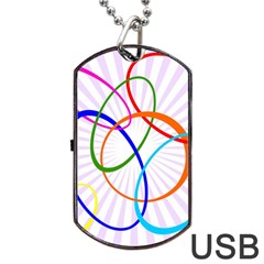 Abstract Background With Interlocking Oval Shapes Dog Tag USB Flash (Two Sides)