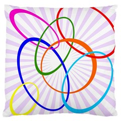 Abstract Background With Interlocking Oval Shapes Large Cushion Case (One Side)