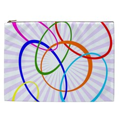 Abstract Background With Interlocking Oval Shapes Cosmetic Bag (XXL)