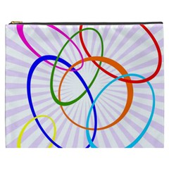 Abstract Background With Interlocking Oval Shapes Cosmetic Bag (XXXL)