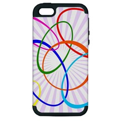 Abstract Background With Interlocking Oval Shapes Apple iPhone 5 Hardshell Case (PC+Silicone)