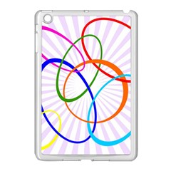 Abstract Background With Interlocking Oval Shapes Apple iPad Mini Case (White)