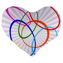 Abstract Background With Interlocking Oval Shapes Large 19  Premium Heart Shape Cushions