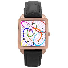Abstract Background With Interlocking Oval Shapes Rose Gold Leather Watch