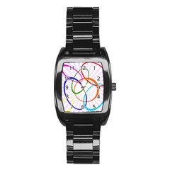 Abstract Background With Interlocking Oval Shapes Stainless Steel Barrel Watch