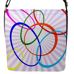 Abstract Background With Interlocking Oval Shapes Flap Messenger Bag (s)