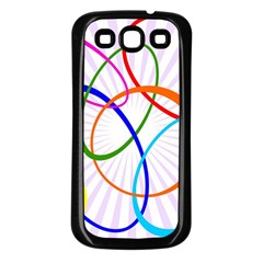 Abstract Background With Interlocking Oval Shapes Samsung Galaxy S3 Back Case (black)
