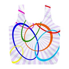 Abstract Background With Interlocking Oval Shapes Full Print Recycle Bags (L)