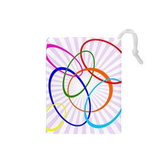 Abstract Background With Interlocking Oval Shapes Drawstring Pouches (small)
