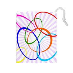 Abstract Background With Interlocking Oval Shapes Drawstring Pouches (Large)