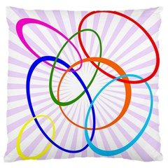 Abstract Background With Interlocking Oval Shapes Large Flano Cushion Case (two Sides)