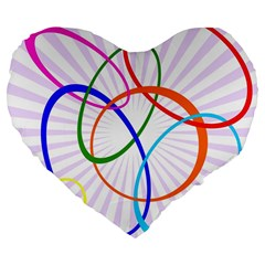 Abstract Background With Interlocking Oval Shapes Large 19  Premium Flano Heart Shape Cushions