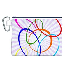Abstract Background With Interlocking Oval Shapes Canvas Cosmetic Bag (l)
