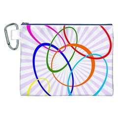 Abstract Background With Interlocking Oval Shapes Canvas Cosmetic Bag (XXL)