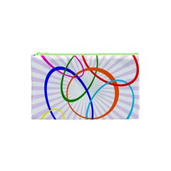Abstract Background With Interlocking Oval Shapes Cosmetic Bag (XS)