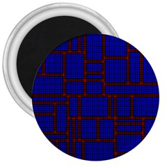 Line Plaid Red Blue 3  Magnets