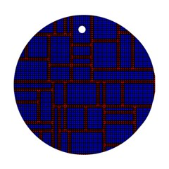 Line Plaid Red Blue Ornament (Round)