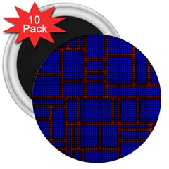 Line Plaid Red Blue 3  Magnets (10 pack)