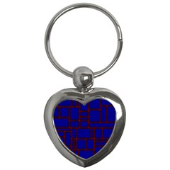 Line Plaid Red Blue Key Chains (Heart)