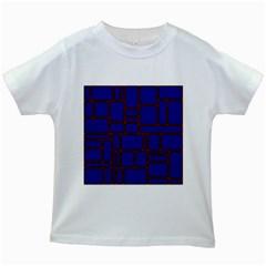 Line Plaid Red Blue Kids White T-Shirts