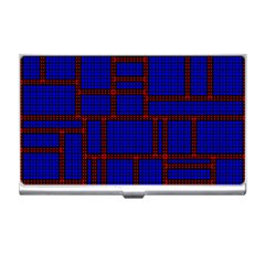 Line Plaid Red Blue Business Card Holders