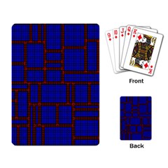 Line Plaid Red Blue Playing Card