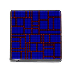 Line Plaid Red Blue Memory Card Reader (Square)