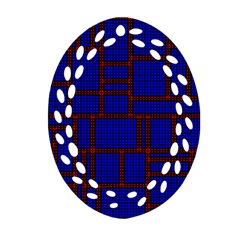 Line Plaid Red Blue Ornament (Oval Filigree)
