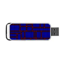 Line Plaid Red Blue Portable Usb Flash (two Sides)