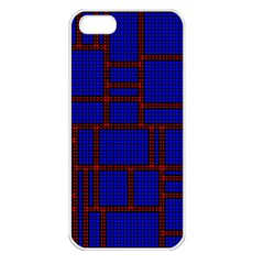 Line Plaid Red Blue Apple iPhone 5 Seamless Case (White)