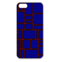 Line Plaid Red Blue Apple Seamless iPhone 5 Case (Clear)