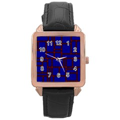 Line Plaid Red Blue Rose Gold Leather Watch